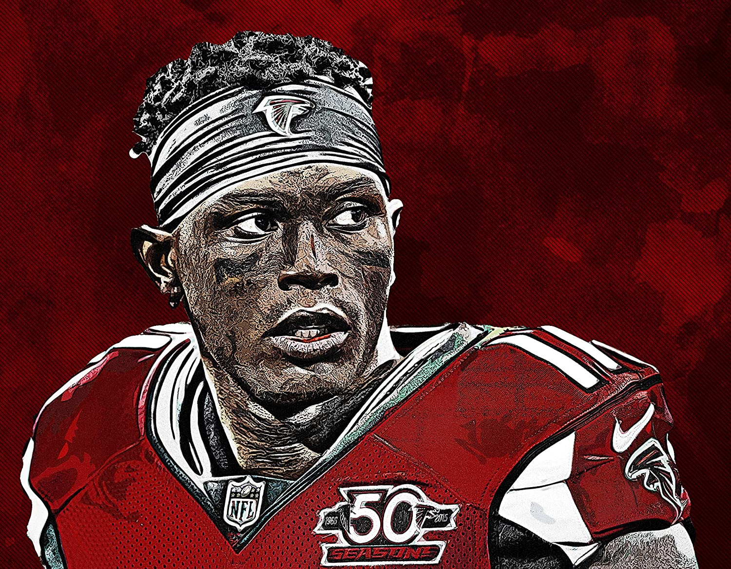 Julio Jones Poster Print, American Football Player, Artwork, Wall Art, Posters for Wall, Canvas Art, Julio Jones Decor, No Frame Poster, Original Art Poster Gift Size 24 x 32 Inches