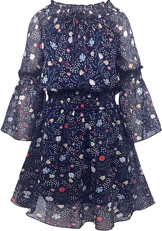 Smukke, Big Girls Tween Beautiful Floral Printed Long Sleeves Dresses (with Options), 7-16