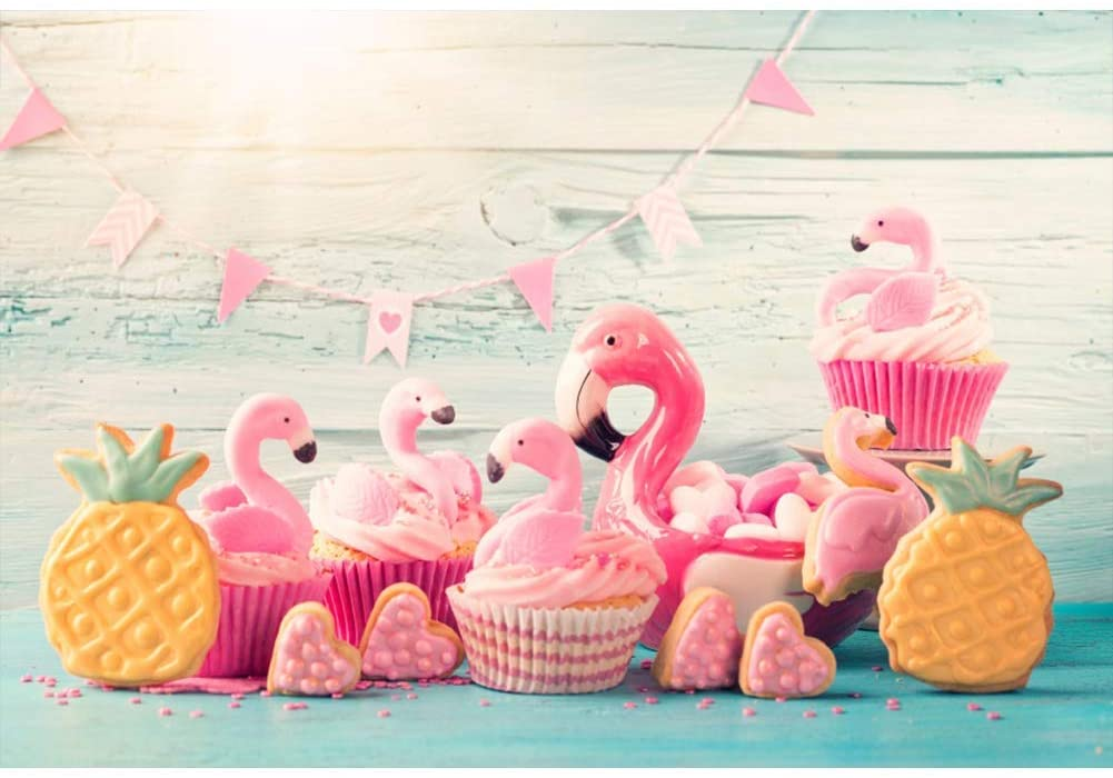 9x6ft Flamingo Themed Baby Girl Birthday Backdrop Shabby Wood Plank Wall Vinyl Photography Backgroud Baby Shower Cake Smash Dessert Table Decoration Summer Fiesta Party Banner