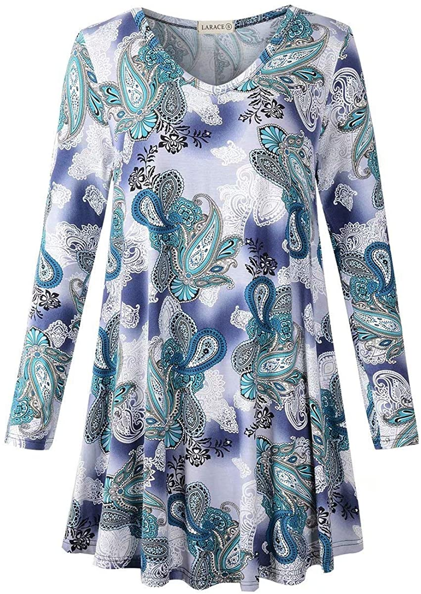 LARACE Long Sleeve Tunics Tops Plus Size for Women Swing V Neck Shirt Loose Fit Flowy Clothing for Leggings