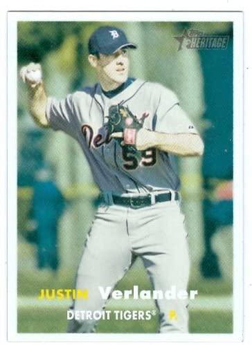 Justin Verlander baseball card 2006 Topps Heritage #461 (Detroit Tigers) Rookie Card