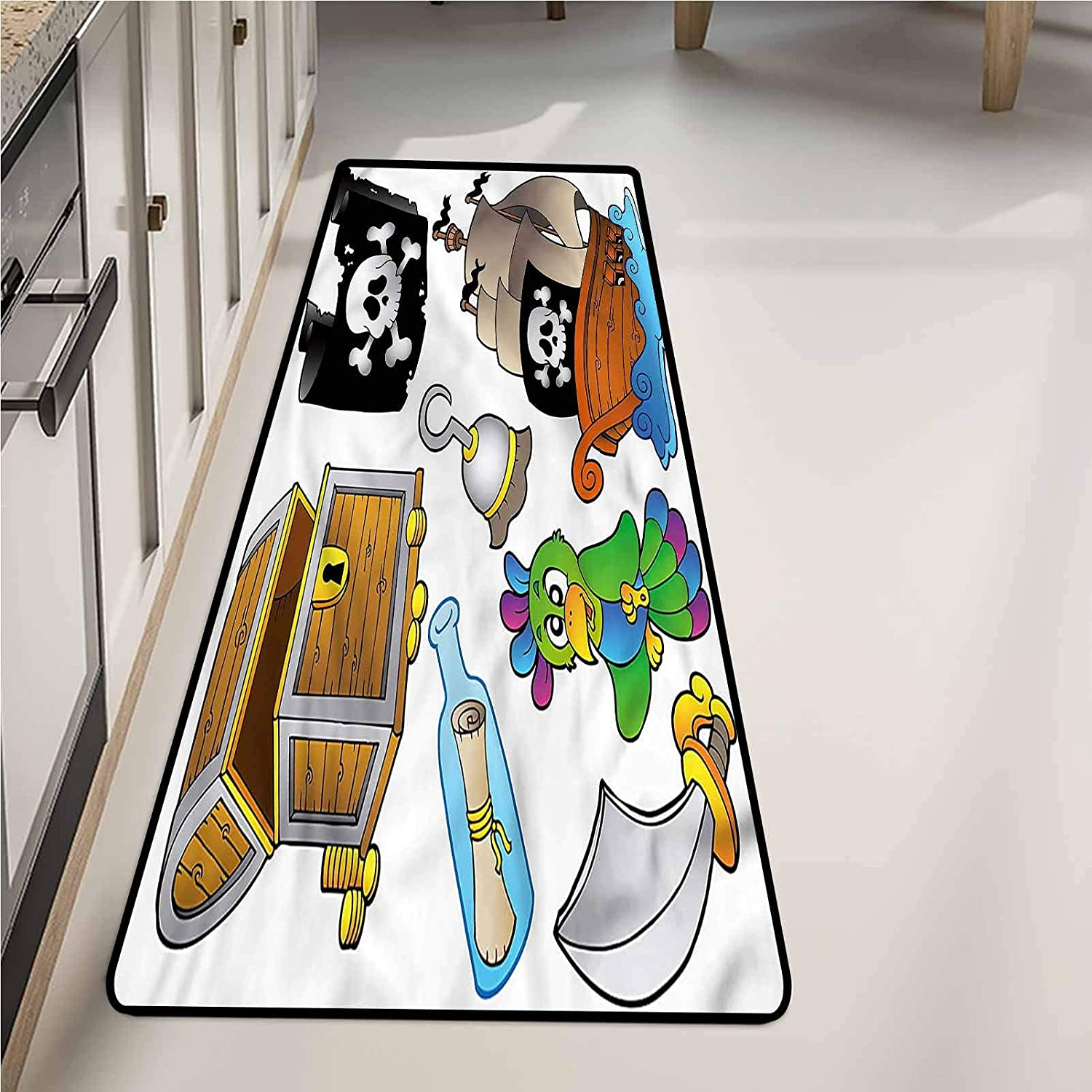Bathroom Mats 20 x 48 Inch, Pirate Jolly Roger Flag Ship Washable Area Rugs