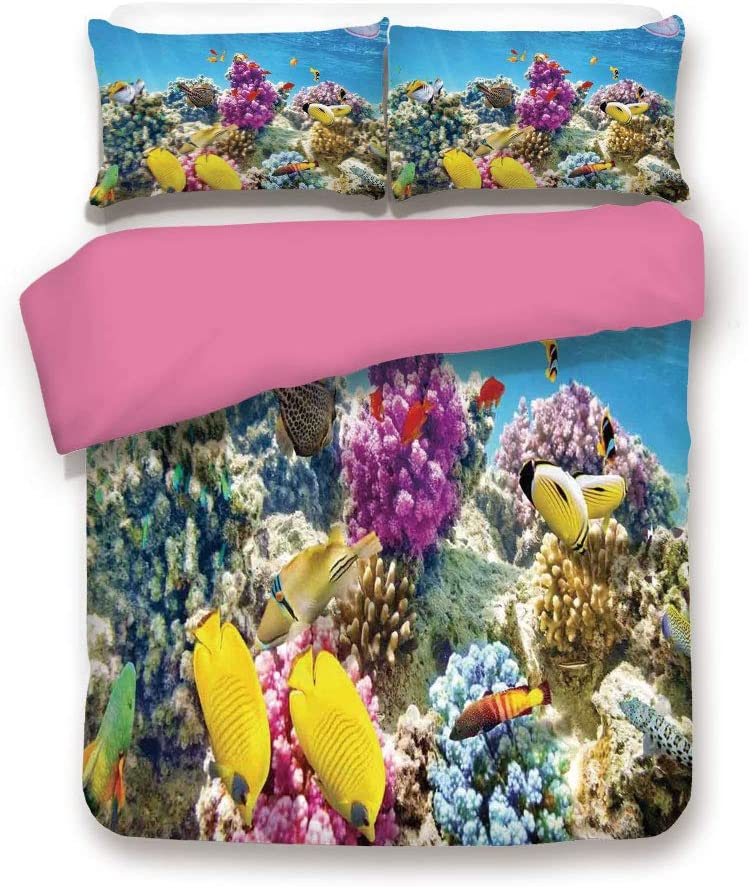 California King Size Pink Back Duvet Cover Set,Intact Sea Life Fish School and Medusa Jellyfish at Clear Lagoon Decorative 3 Piece Bedding Set with 1 Pillow Sham,Lavender Yellow and Aqua Blue