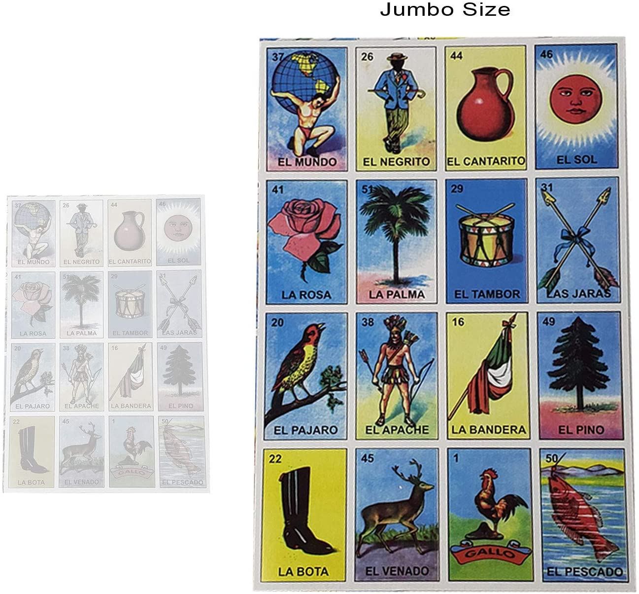 Mexican Jumbo Cardboard Loteria Board Game 10 Templates and Deck with 54 Cards of Card Family Game