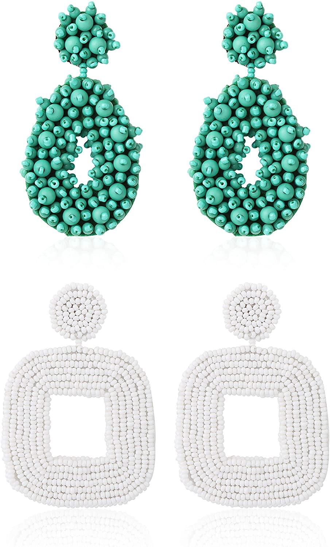 Thunaraz 2Pairs Beaded Drop Earrings for Women Handmade Bohemian Statement Earrings Wrapped Beaded Dangle Earrings