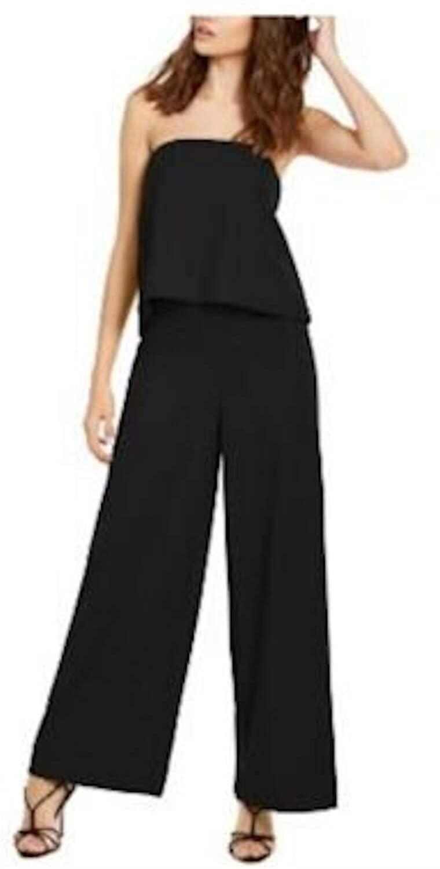 Rachel Roy Womens Black Sleeveless Strapless T-Shirt Wide Leg Jumpsuit Size L