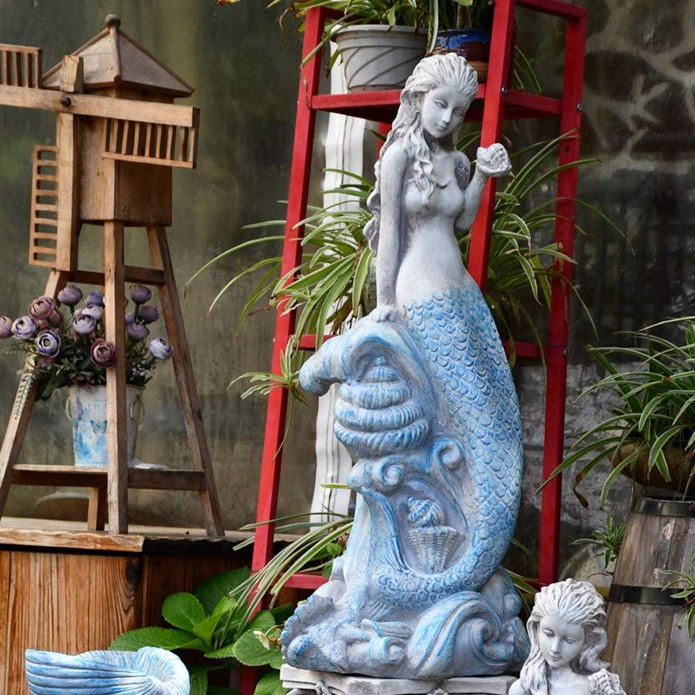 JJAIR Outdoor Garden Cement Mermaid Statues Decoration, Creative Farmhouse Groceries Figurines Crafts Courtyard Landscape Accessories,D