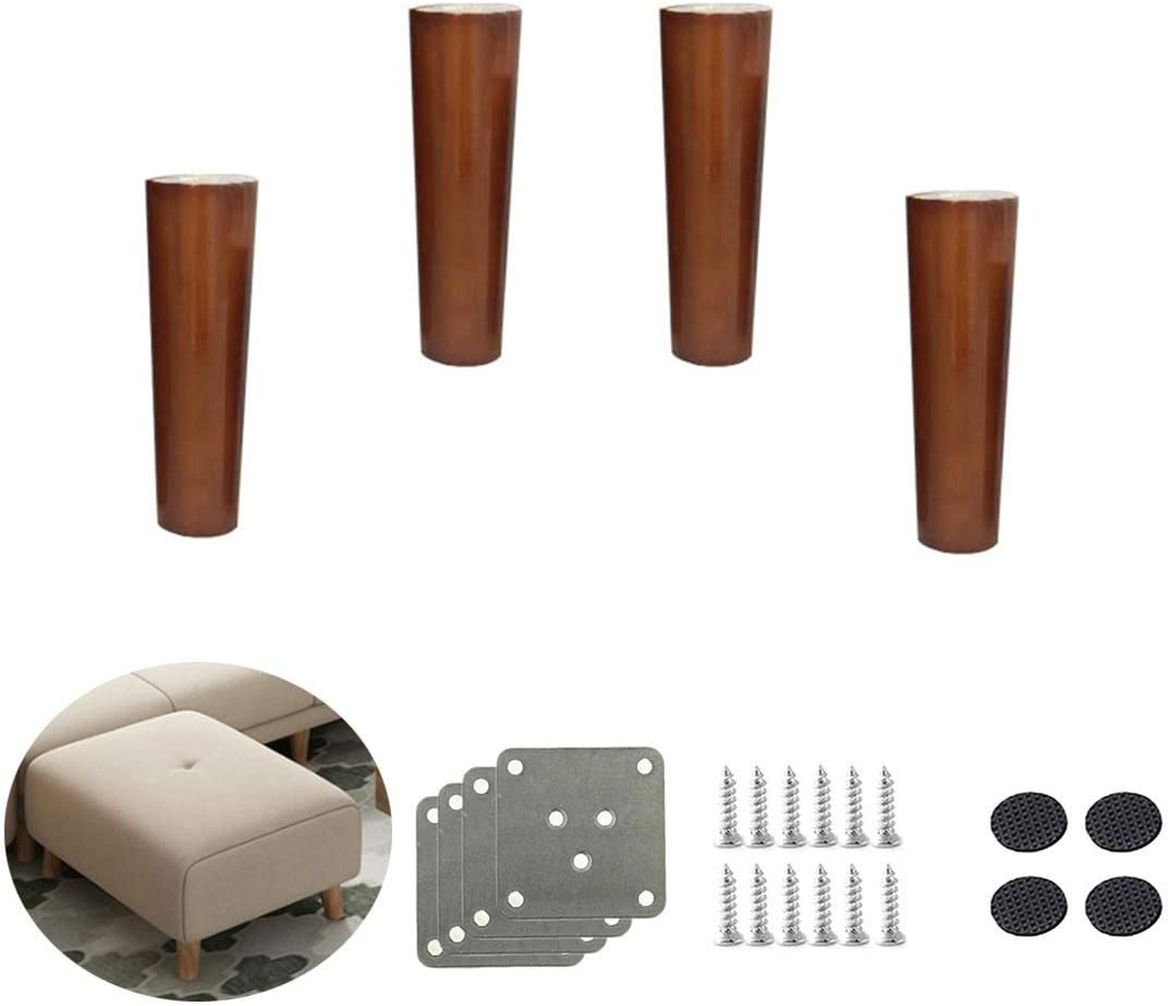 Set of 4 Solid Wood Furniture Legs, Replacement Tapered Sofa Legs, Rubber Wood Furniture Feet, for Sofa Bed, Armchair, Recliner, Dresser, Hardware Accessories, Walnut (Vertical8cm / 3.1in)