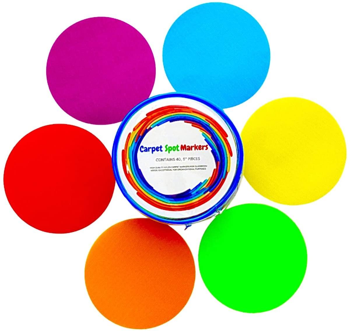40 Pcs Carpet Spot Markers for Classroom - Classroom Supplies for Teachers Elementary Kids Dots Sit Spots Carpet Dots Kids Carpet Dots