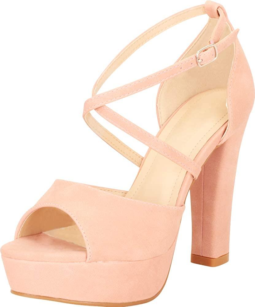 Cambridge Select Women's Open Toe Crisscross Strappy Chunky Platform High Block Heel Sandal