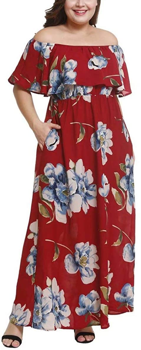 Feierchi Women's Off Shoulder Short Sleeve Printed Plus Size Maxi Dress Beach Party Long Floral Dresses