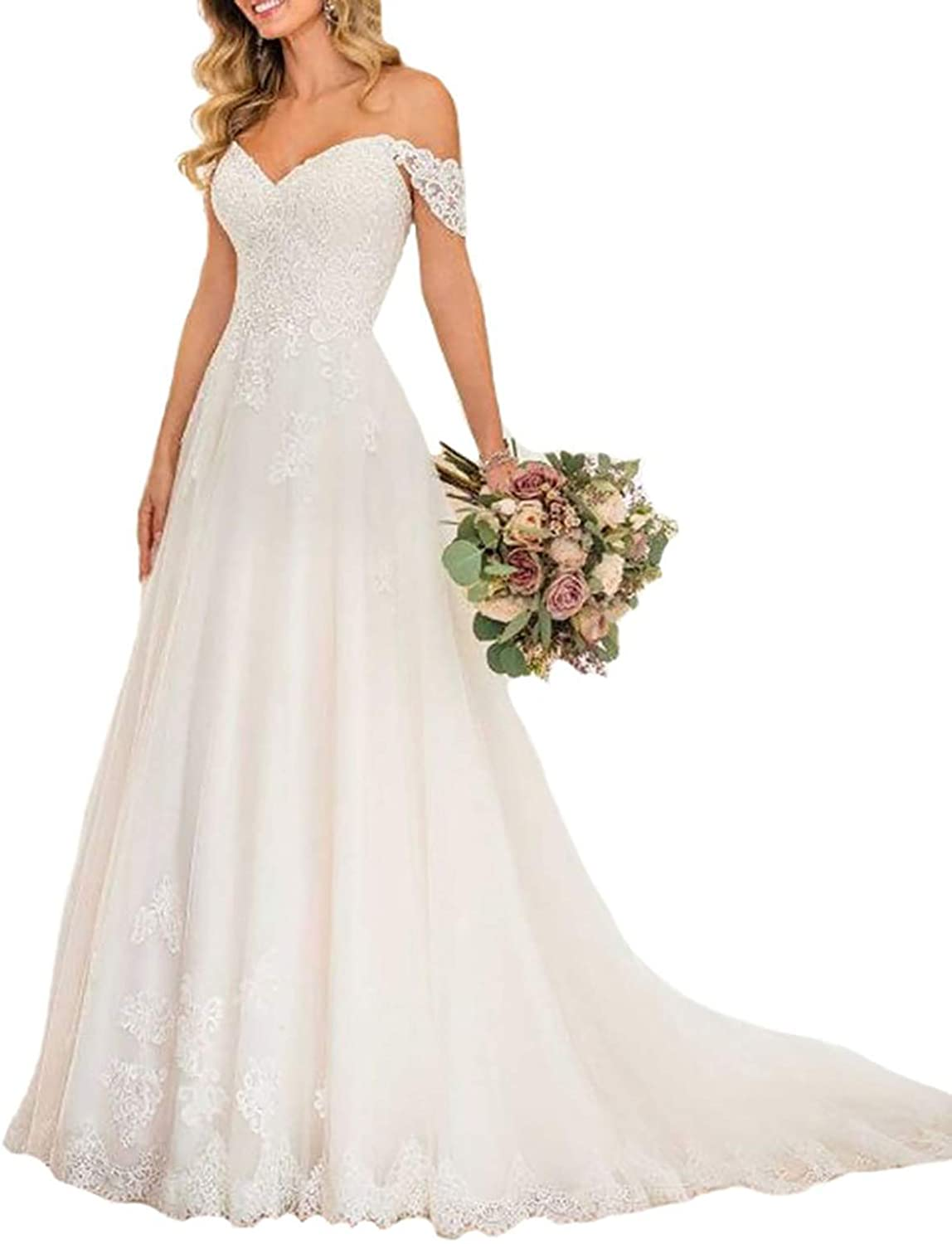 YnanLi Dress Women's Long Off The Shoulder Lace Tulle Wedding Dresses A Line Strapless Bridal Prom Gown White Size 8