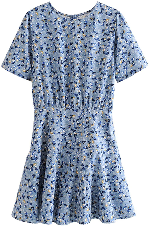 Women 2020 Chic Fashion Floral Print Ruffled Mini Dress Vintage Short Sleeve Back Zipper S