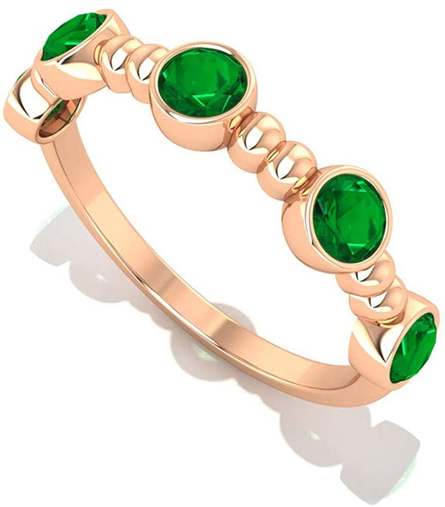 0.60 Carat Bezel Set SGL Certified Emerald Diffused Wedding Rind, Solid 14k Gold Beaded Green Gemstone Engagement Ring, May Birthstone Gold Bridal Promise Ring, 10K Gold