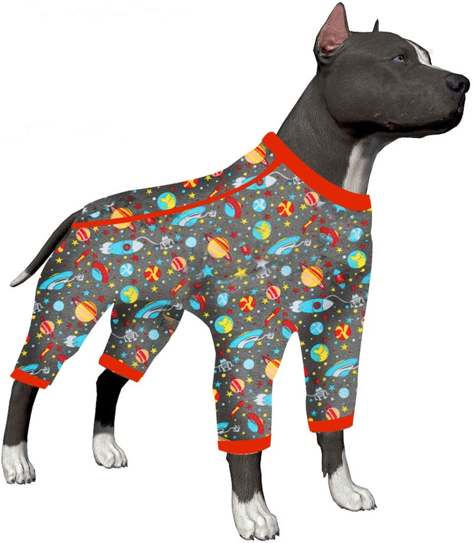 LovinPet Dog Pajamas Big Pitbull Boxer Labrador Doberman/Space-Travel The Vast Space Star Grey Prints/Post Surgery Shirt/UV Protection, Pet Anxiety Relief, Wound Care for Large Dog Onesies