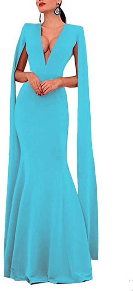 Meowmming Women's Double V Neck Mermaid Evening Dress Satin Cape Sleeves Formal Prom Dress