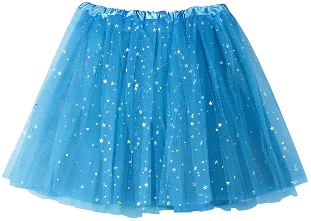 JSPOYOU Women Skirt Pleated Gauze Short Skirt Adult Tutu Dancing Skirt