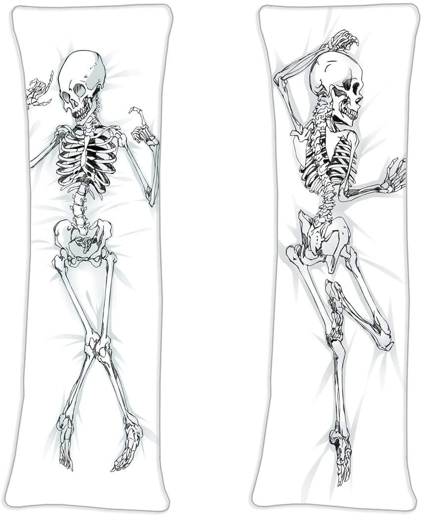AWSRBO Skeleton Anime Decorative Body 2 Sides Cosplay Cover Adult 160 x 50cm(62.9in x 19.6in) Peach Skin Pillowcases.