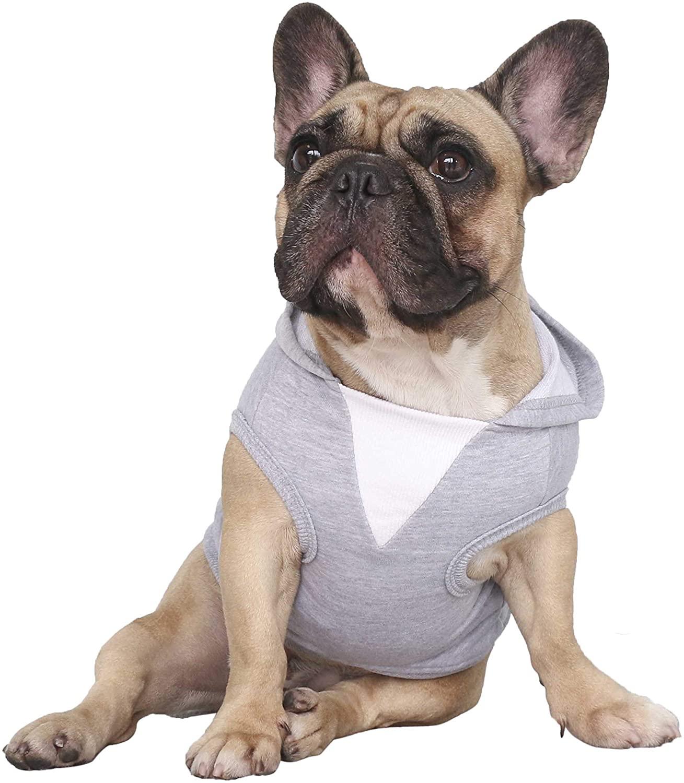 iChoue Dog Hoodie Pet Clothes Sleeveless Hooded Elastic Cotton Fabric Sweatshirt Pullover Tshirt
