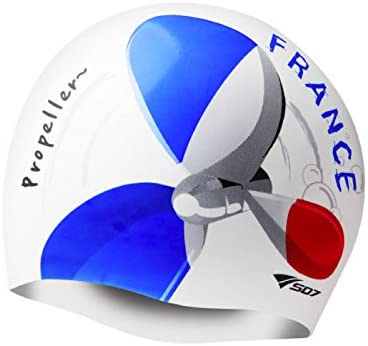 France Flag, Propeller Image, Silicone Swimming Head Cap