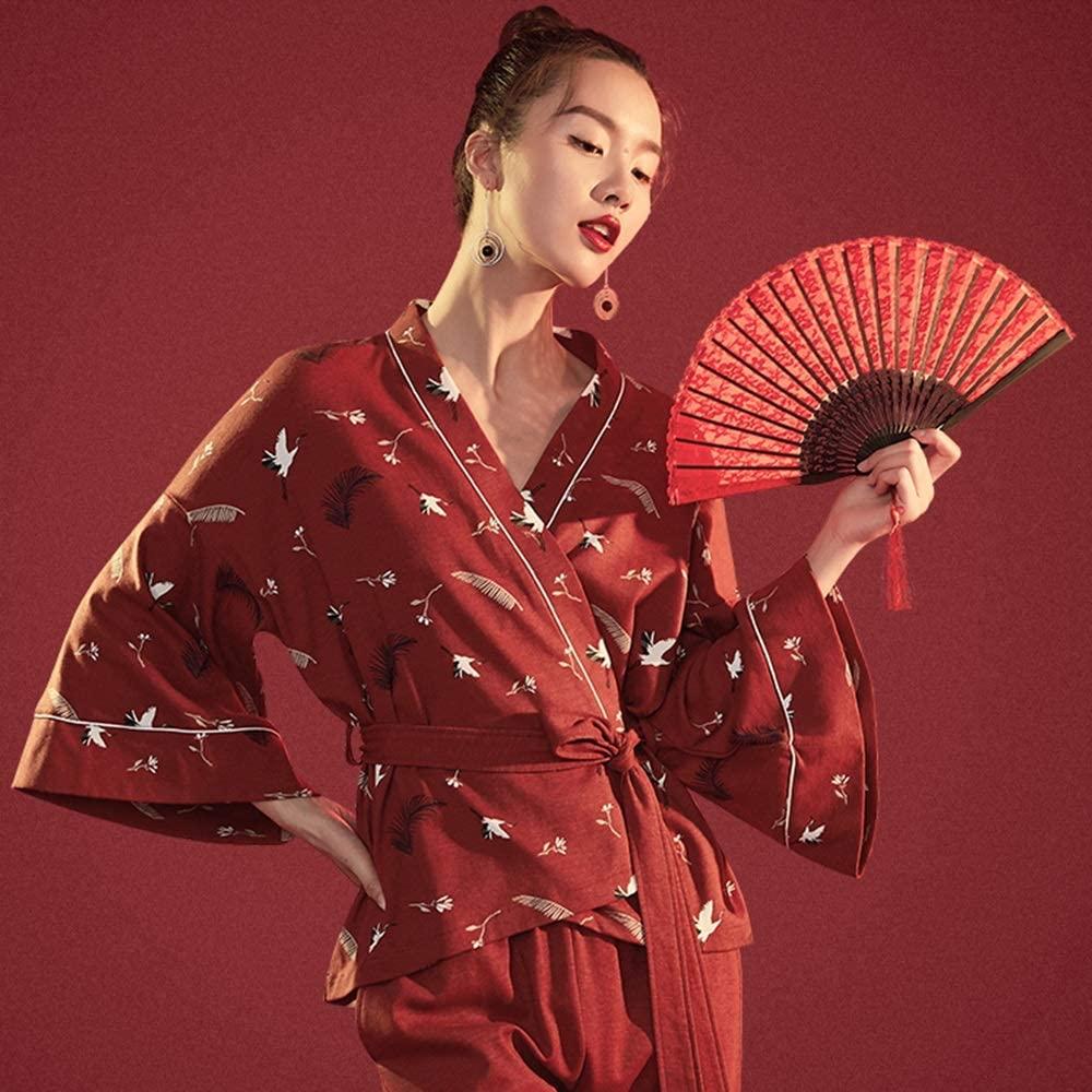 Ladies Cotton Pajamas Set Pajamas Cotton Women Holiday Pajama Sets Long Cotton Pajama Pants Sleepwear Set Sleepwear Loungewear Crane Kimono (Color : Red, Size : 170)