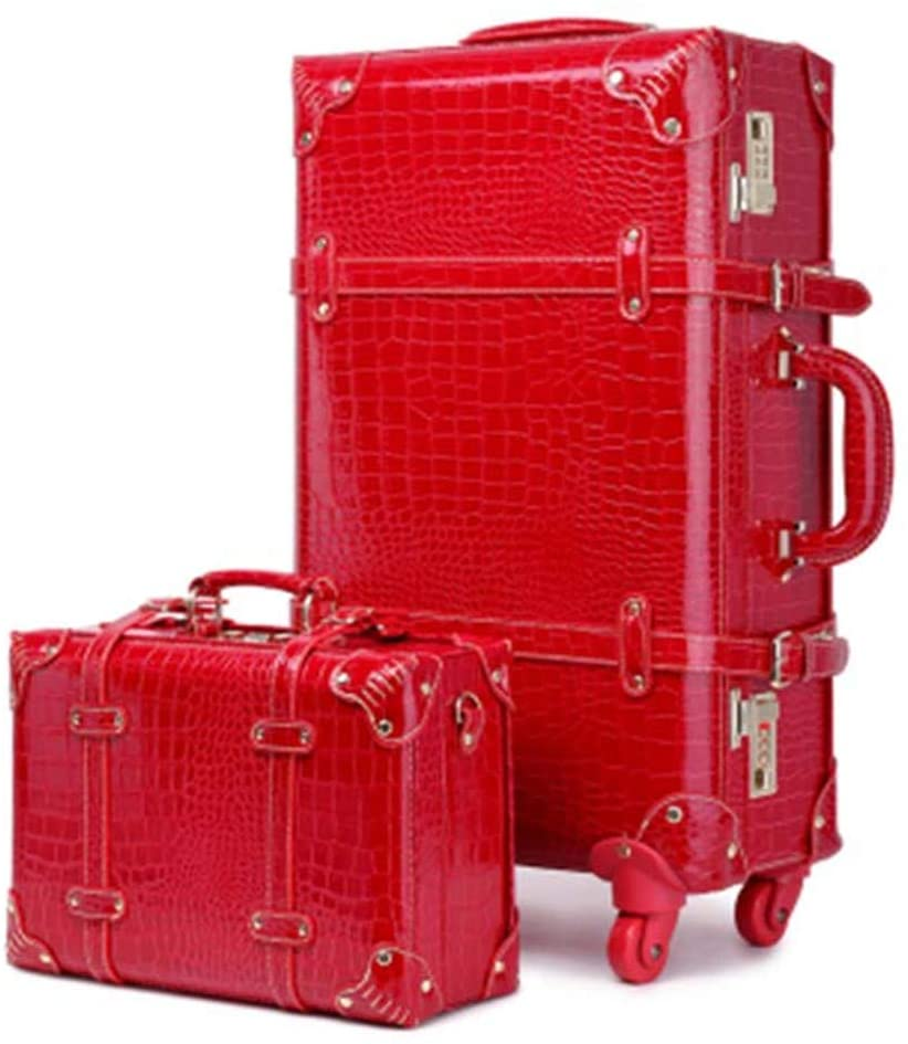 Red Rolling Luggage Set Spinner Bride Wedding Password Trolley Suitcase Wheels Vintage Travel Bag Trunk 20 Inch red a set 22