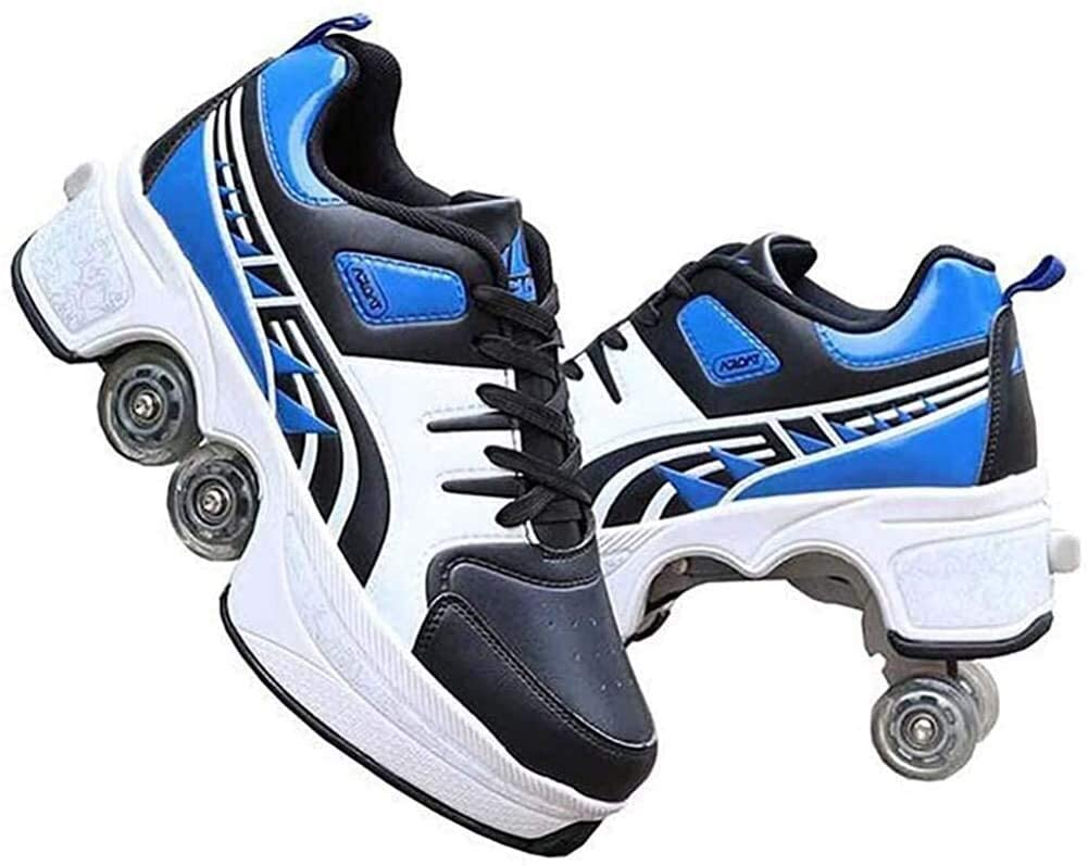 HELIn Roller Skates for Girls/Boys - Shoes with Wheels for Adults, 2-in-1 Parkour Shoes, Double-Row Four Rounds Running Shoes Skates Outdoor Sports Roller Shoes, The Best Gift