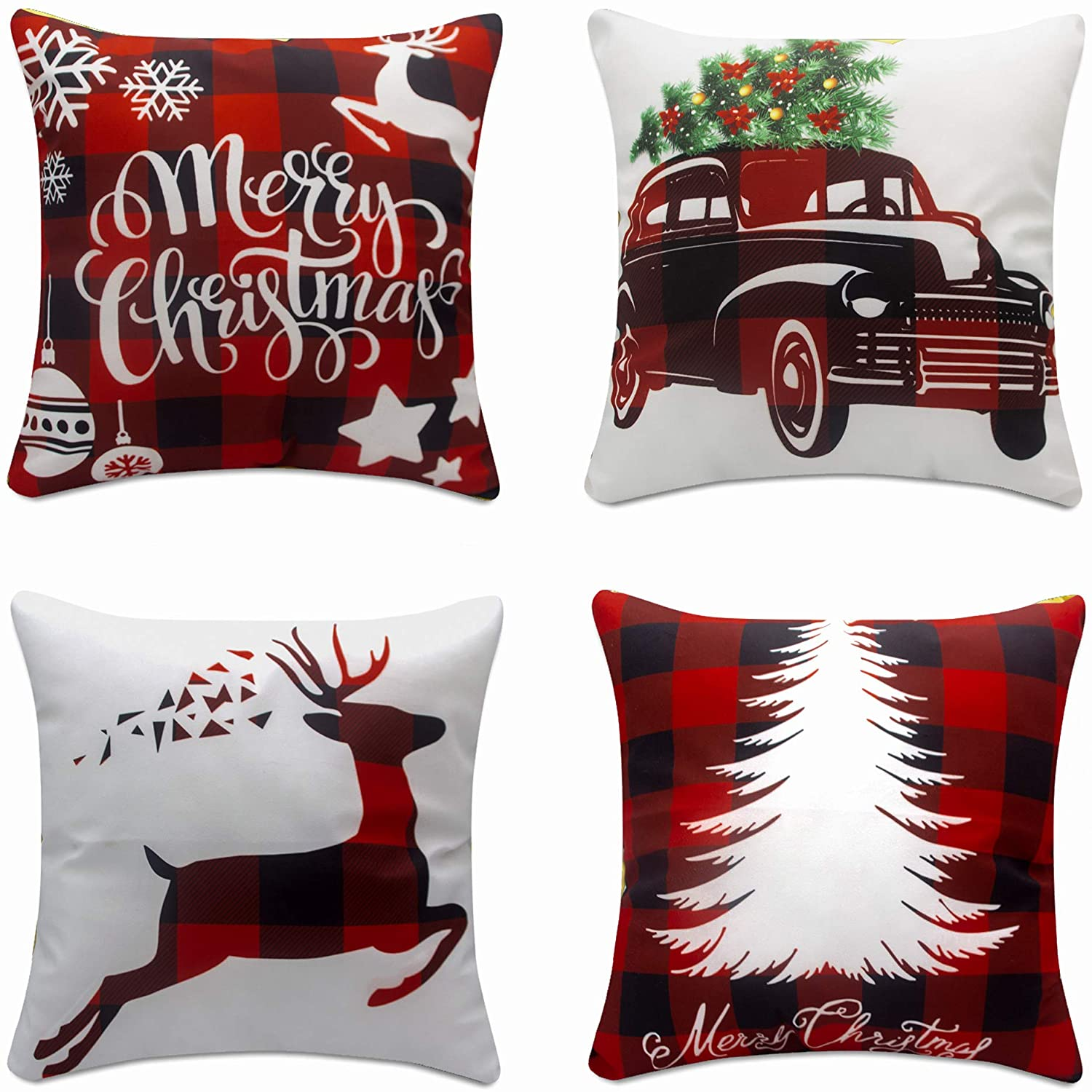 Christmas Throw Pillows Covers 18x18 Set Of 4