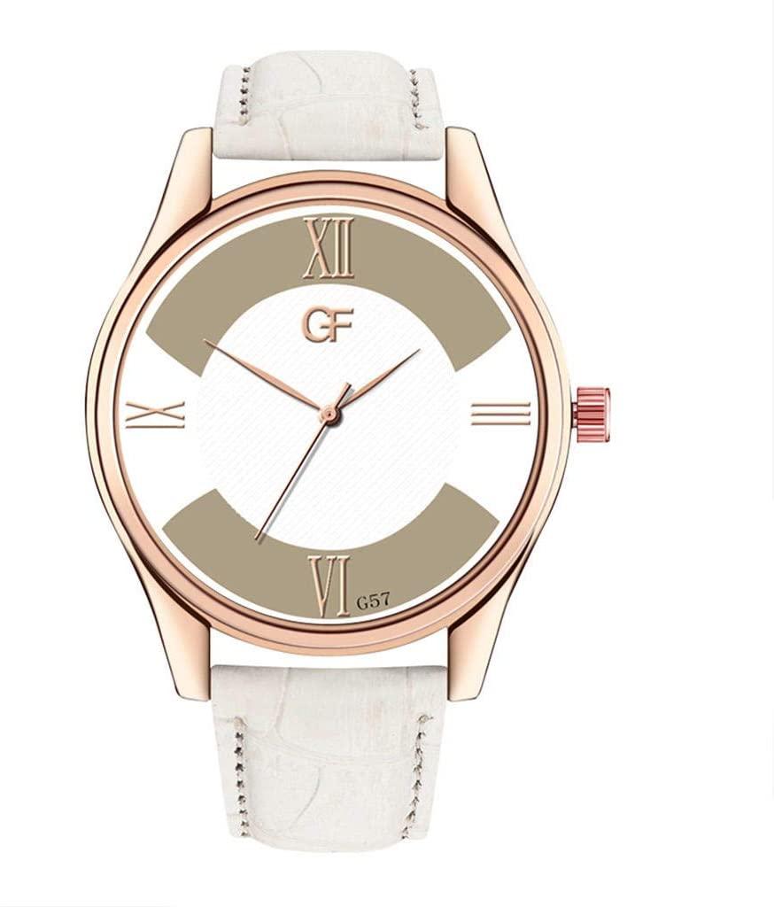DRAGONHOO Men's Watch Fashion Business Casual Leather Strap Analog Quartz Round Watch Minimalist Waterproof (A)