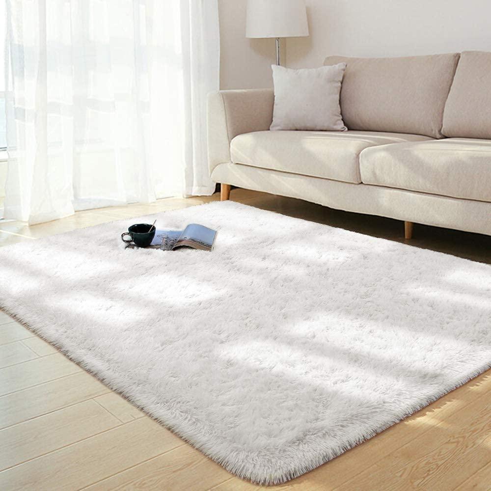 BENRON Soft Fluffy Area Rugs for Bedroom Kids Room Shag Furry Fur Rug for Living Room Boys Girls Modern Plush Nursery Rugs Solid Accent Floor Carpet, 3x5 Feet Cream White