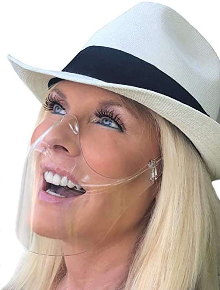 XXGJK Transparent_Face_Mask, All Clear Face_Shield, Reusable Washable Durable Face Protection Visible Reusable Bandanas for Adult Men Women