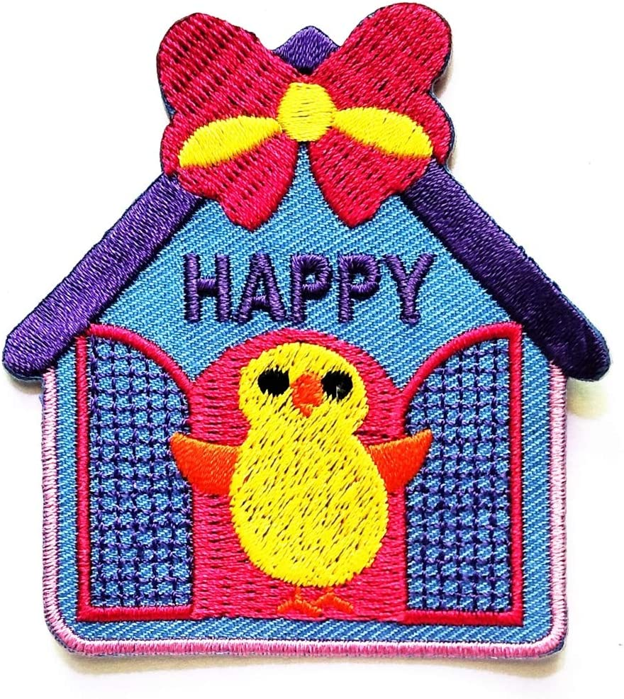 PP Patch Cute Duck Bird Blue House Pink Bow Happy Cartoon Logo Girl Kid Baby Sticker Patch Sew Iron on Embroidered Symbol Badge Cloth Jacket T Shirt Costume