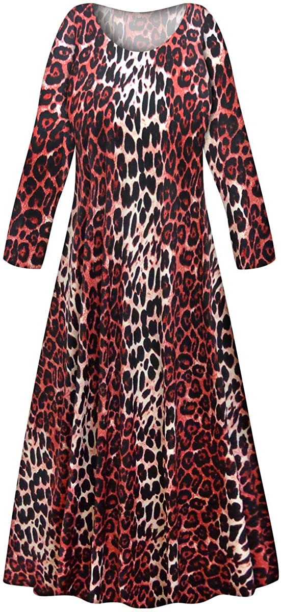 Plus Size Long Sleeve A-Line Maxi Dress Red Leopard Slinky Print