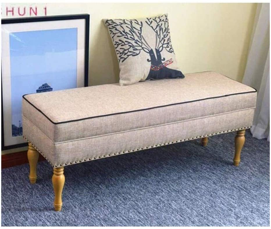 Cotton Linen Bed End Stool, Solid Wood Change Shoe Bench Sofa Stool Rest Bench Piano Stool 108 (Size : 120cm)