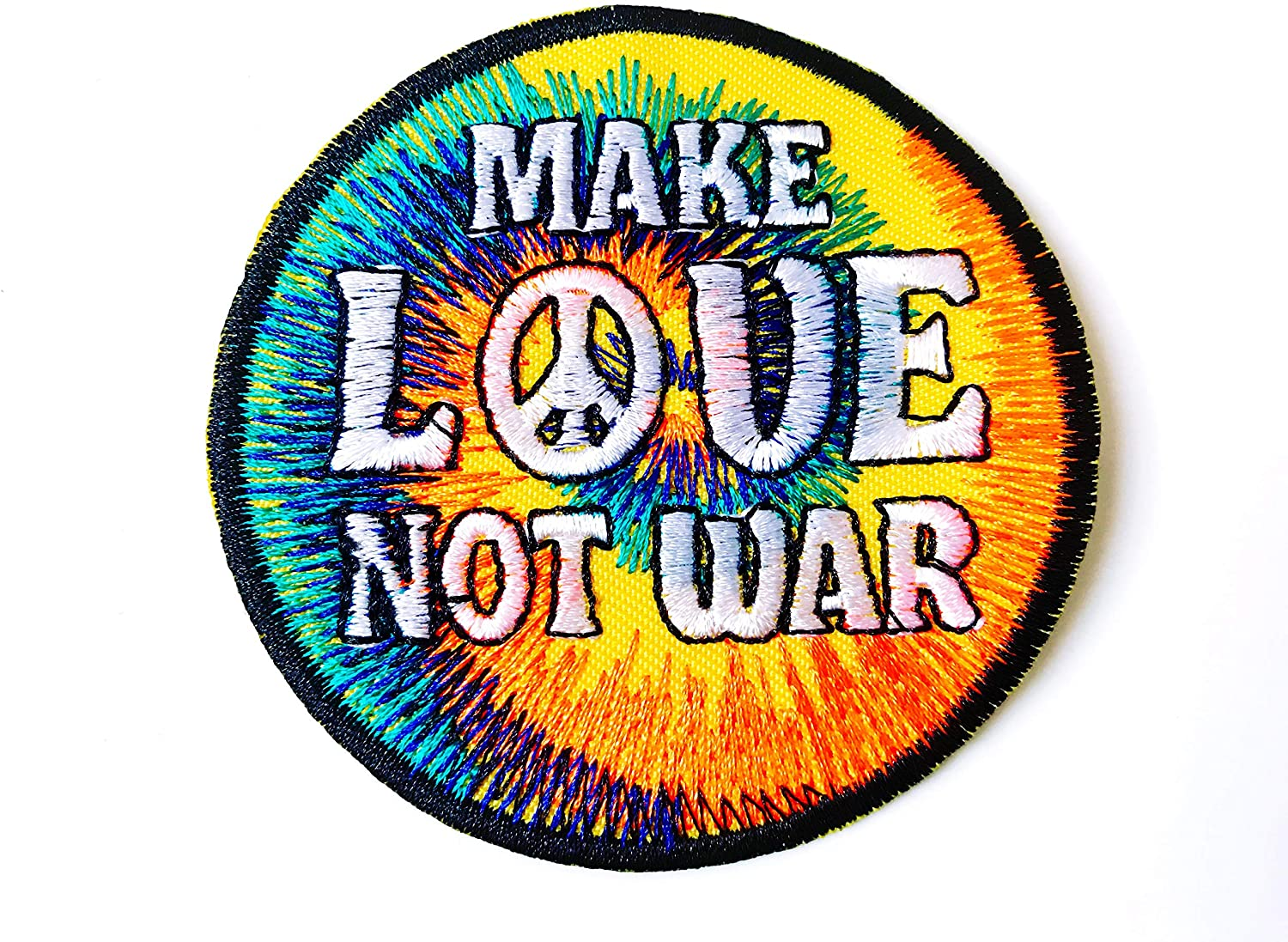 TH Make Love Not War Peace Symbol Biker Rider Motorcycle Logo Applique Embroidered Sew on Iron on Patch for Backpacks Jeans Jackets Clothing etc.