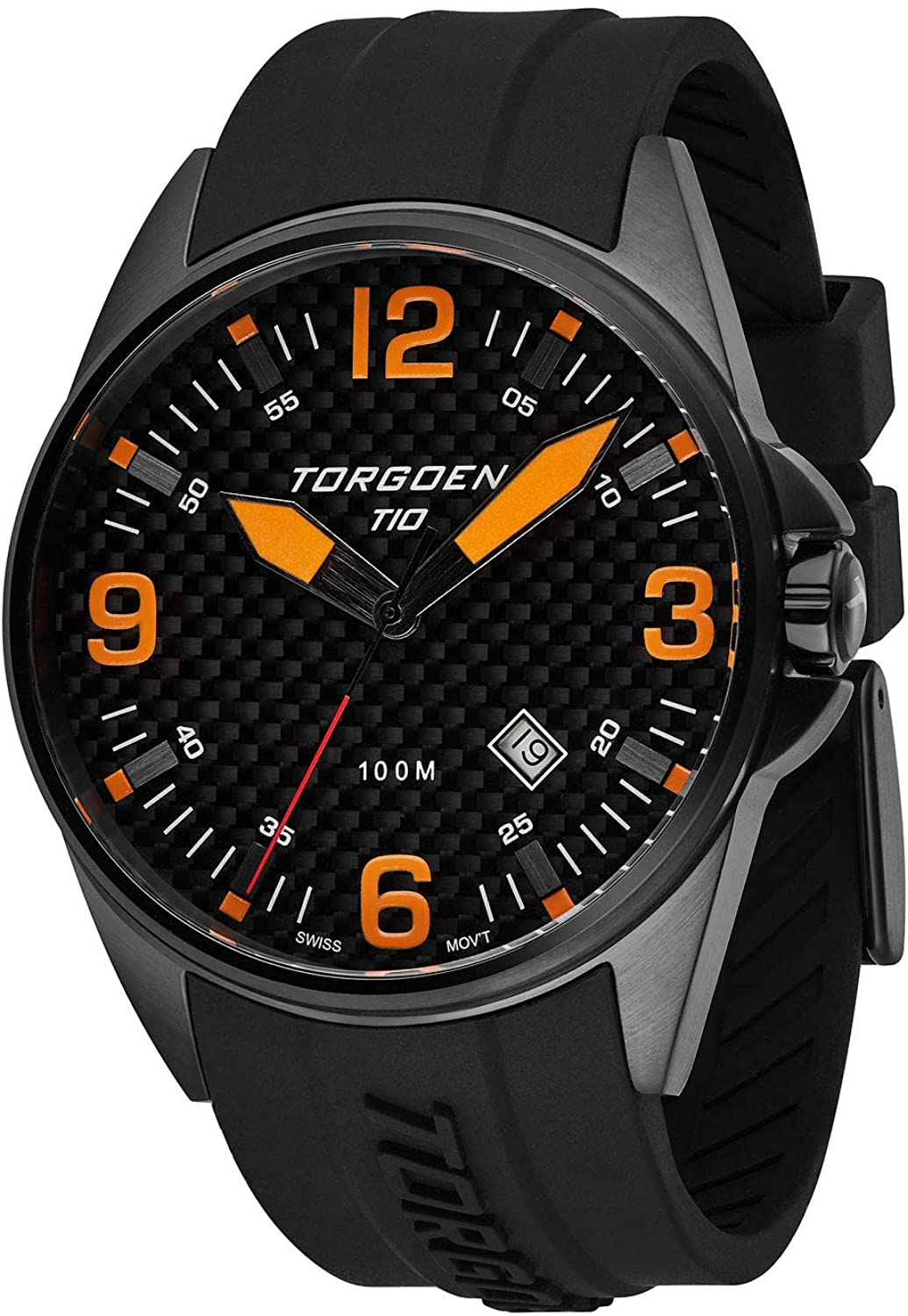 Torgoen T10 Carbon Fiber Pilot Watch with Sapphire Crystal | 44mm - Black Silicone Strap