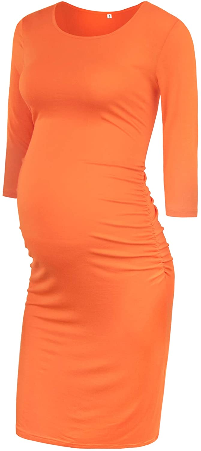 GLAMIX Women's Maternity Bodycon Dress Short & 3/4 Sleeve Ruched Casual Dress Pregnancy Clothes