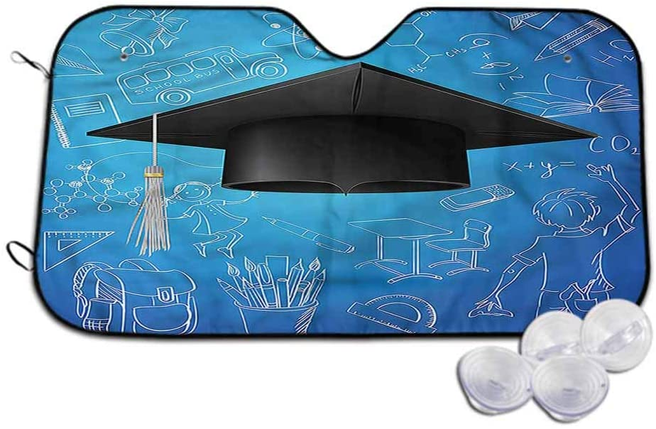 TableCoversHome Automotive Windshield Sunshades Graduation Portable Car Window Sun Shades Black Cap with Education, 30 x 55 Inch, Auto Parts