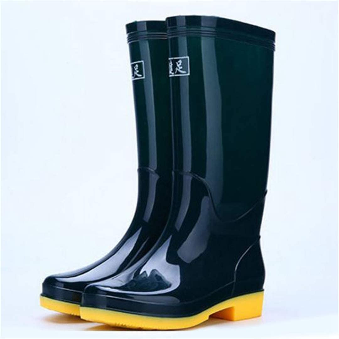 ALOMMNS 12 Color Women Rain Boots Waterproof Solid Color Knee High Boots Outdoor Rubber Water Shoes for Female Size 36-41 Dark Green 3 5