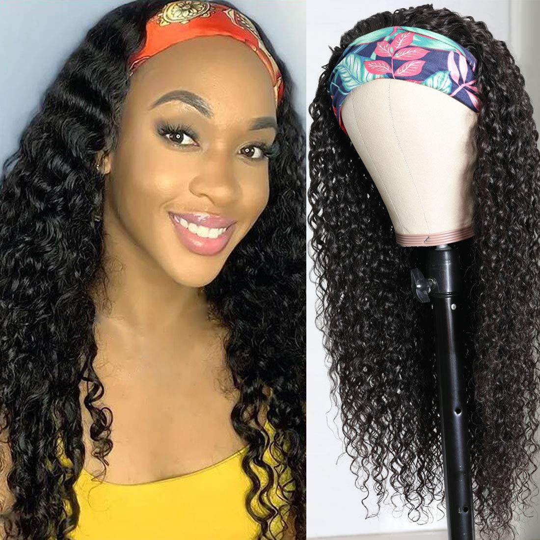Beauty Forever Headband Human Hair Wig Jerry Curly Glueless Human Hair Scarf Wigs With Pre-attached Scarf Non Lace Wigs for women Wear and Go Wig No Glue No Sew In Natural Color 150% Density 26 Inch