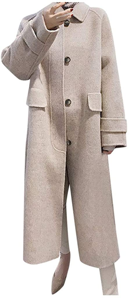 LEKODE Trench Women's Warm Long Sleeve Artificial Wool Coat