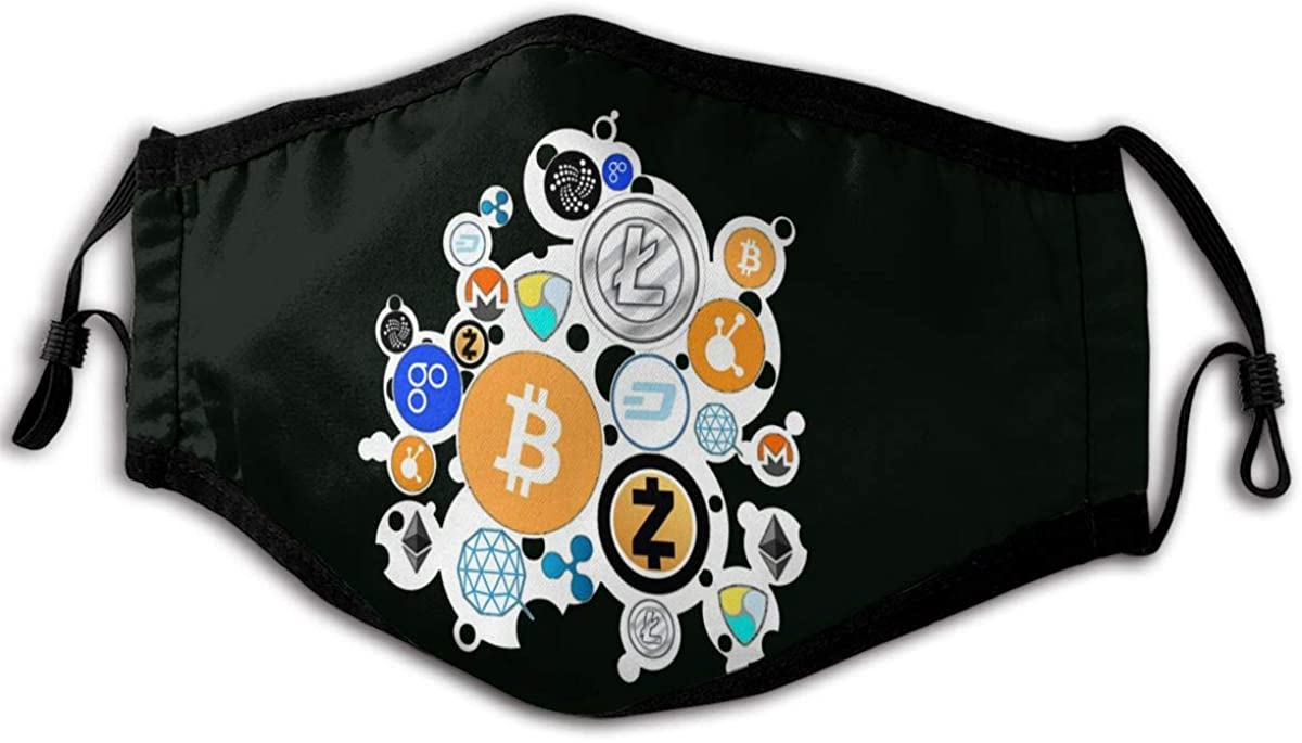 YOSYO Cryptocurrency Bitcoin Ethereum Litecoin Face Cover,Washable Outdoor Nose Mouth Cover Fashion for Adult Kid Black