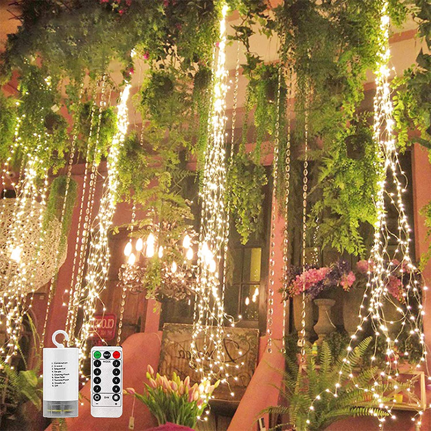 2 Pack 220 LED Firefly Bunch Lights Battery Operated, 8 Flashing Modes Waterproof Copper Wire Waterfall Lights, Remote Controlled Timer and Hooks, Fairy Lights for Indoor Outdoor Decor (Warm White)