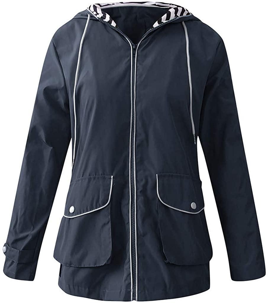 WooCo Women's Cycling Jackets Hooded Waterproof Windproof Running Biking Raincoat Windbreaker Lightweight Coats Outwear