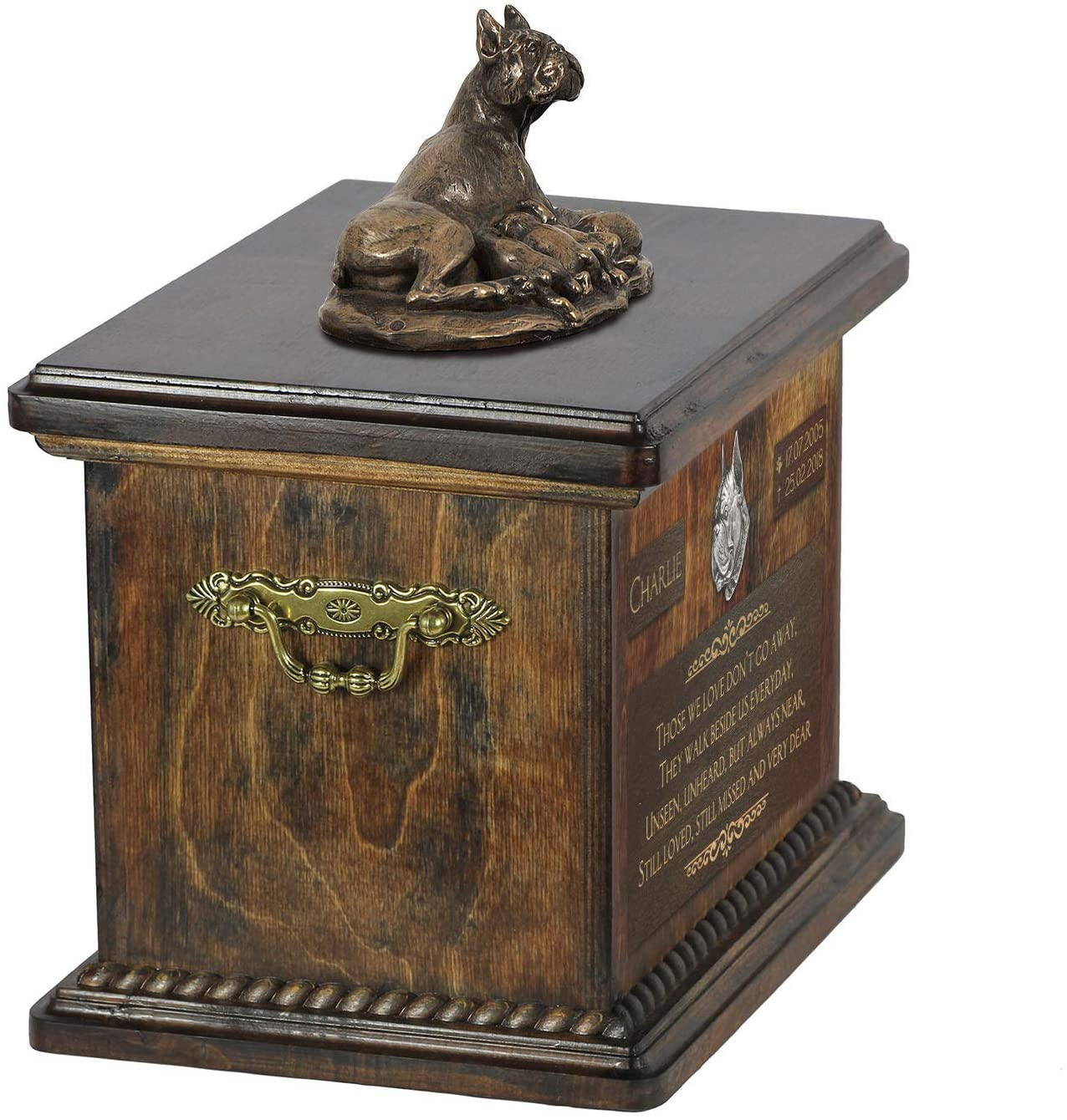 Boxer Mama 2, Urn for Dog Ashes Memorial with Statue, Pet's Name and Quote - ArtDog Personalized