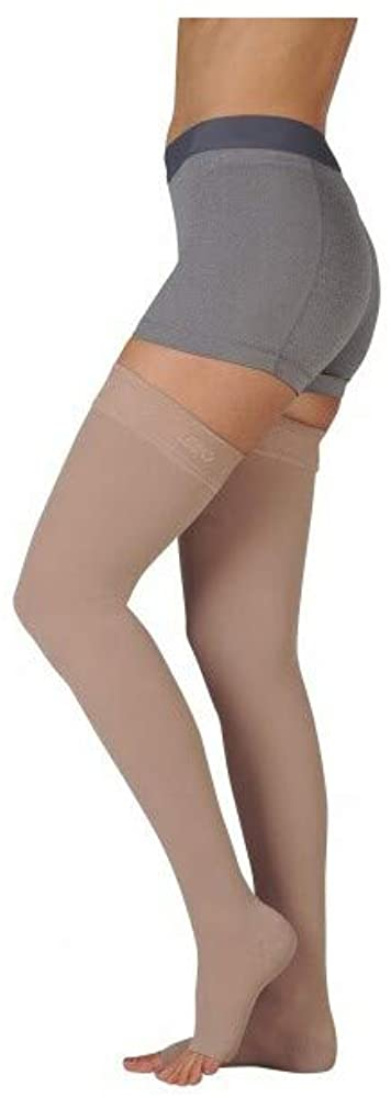 Juzo 3511MXAGSB06 III Dynamic Max 20-30 mmHg Open Toe Thigh High Firm Compression Stockings With Silicone Border - White44; III - Medium