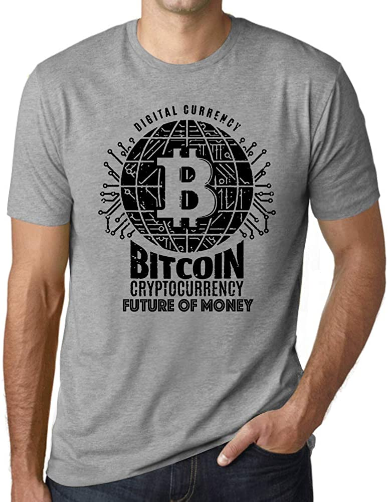 Ultrabasic Men's Graphic T-Shirt Bitcoin Future of Money T-Shirt HODL BTC Tee Crypto Gift Idea Grey Marl
