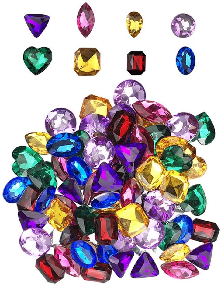 Pirate Treasure Jewels Jumbo Bling Diamonds Colored Treasure for Pirate Party 80pcs
