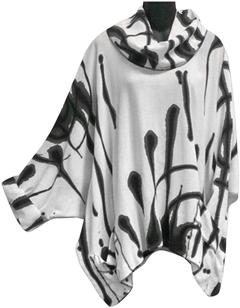 Women Sweatshirt Plus Size SFE Winter Classical Ink Printing High Round Collar Bat Long Sleeve Irregular Hem Cloak
