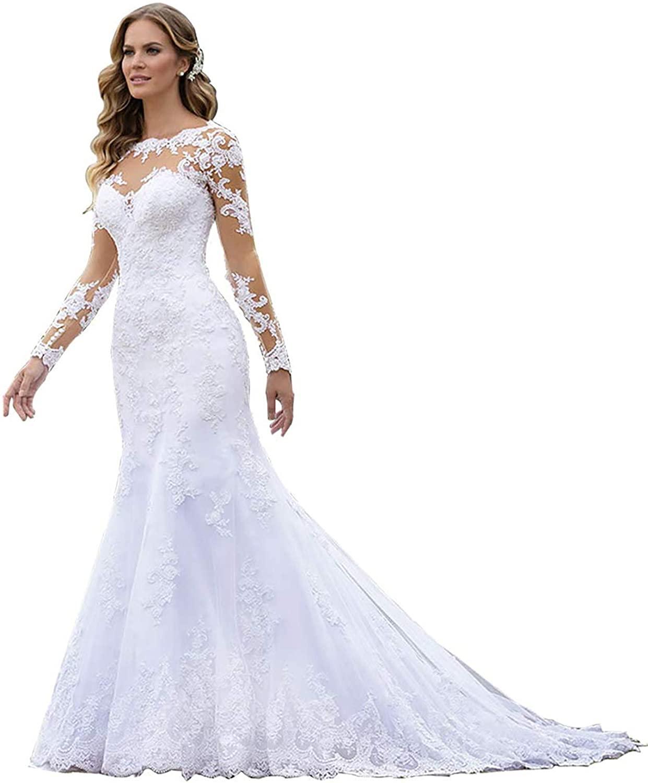 Women's Long Sleeve Mermaid Lace Appliques Chiffon Wedding Dresses Open Back Bridal Prom Gown White Size Customsize